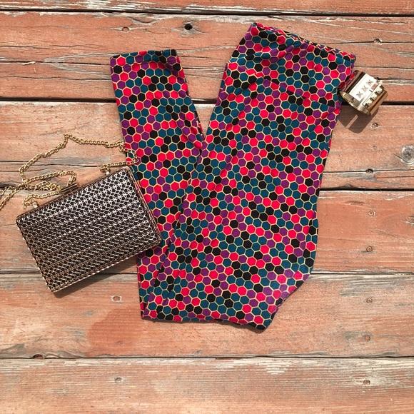 2fa3c350c64206 LuLaRoe Pants | Colorful Honeycomb Leggings Tall Curvy | Poshmark